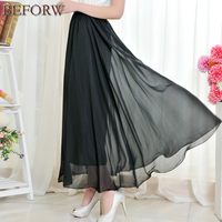 Women Long Skirt Summer Casual Beach Fashion High Waist Skirts Sexy Pleated Tulle Black White Maxi