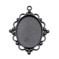 10Pcs/Lot New Style Antique Black Plated Lace Pendant Trays with Oval Blank Bezel  Fit 30x40mm Resin Glass Oval Cabochon