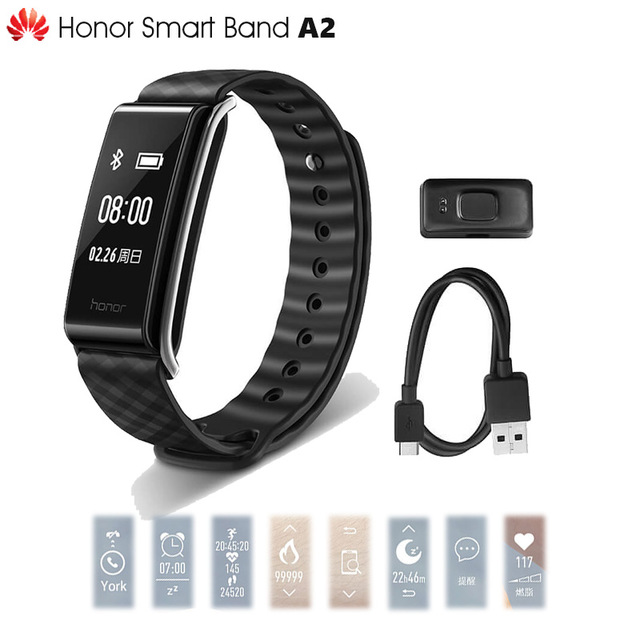 Original Huawei Honor Color Band A2 Smart Wristband 0.96 OLED Screen Heart Rate Monitor Show Message End Call IP67 huawei honor a2 smart wristband 0 96 oled screen heart rate monitor show message end call ip67 glory play bracelet a2
