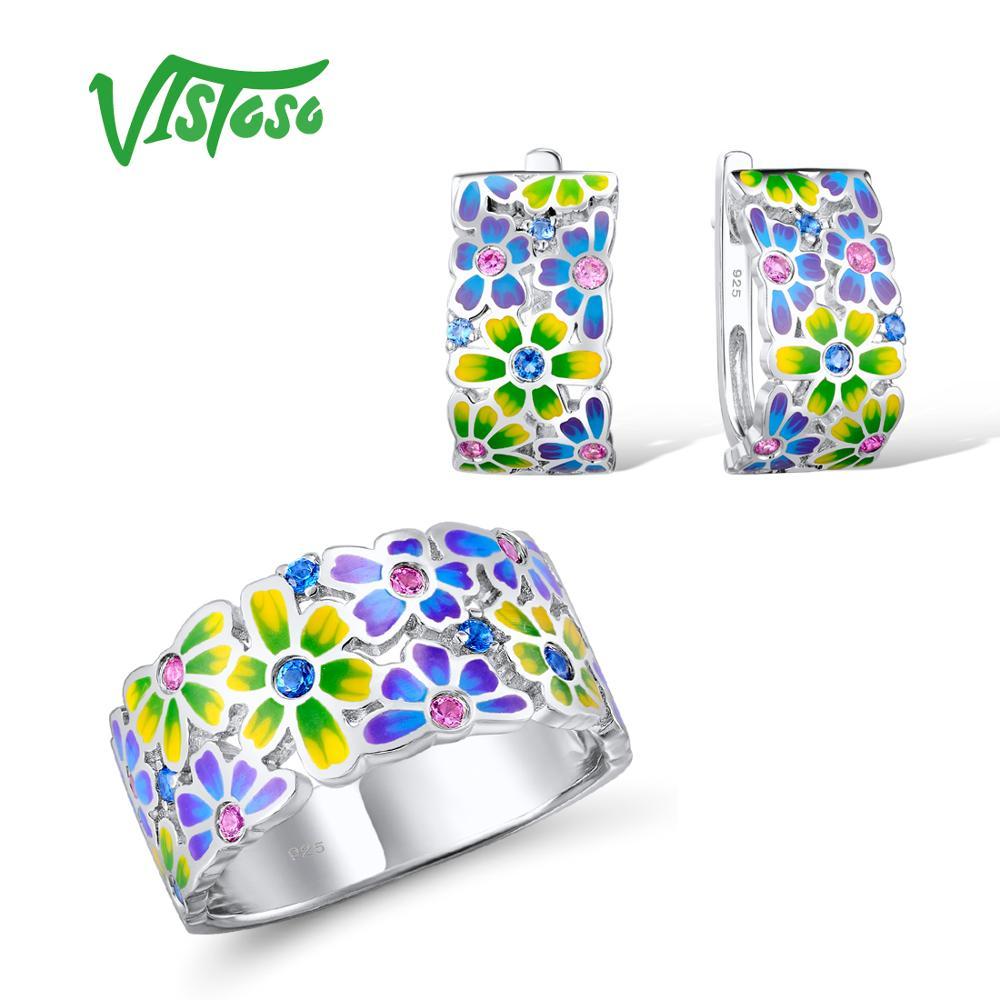 VISTOSO комплект ювелирных изделий ручной работы разноцветной эмалью Белый CZ камни цветок кольцо серьги 925 серебро Для женщин Модные украшения...