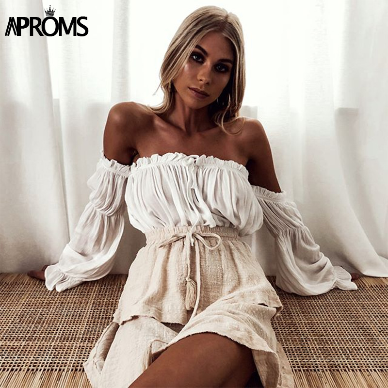 Aproms 90s Girls Off Shoulder Crop Top Casual Frill White Basic T-shirt Women Summer Long Sleeve Cropped T Shirt Female Top 2019 Chemisier