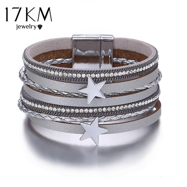 17KM 3 Color Vintage Star Leather Charms Bracelets For Women Men Multiple Layers Magnetic Wrap Bracelets New Fashion Jewelry