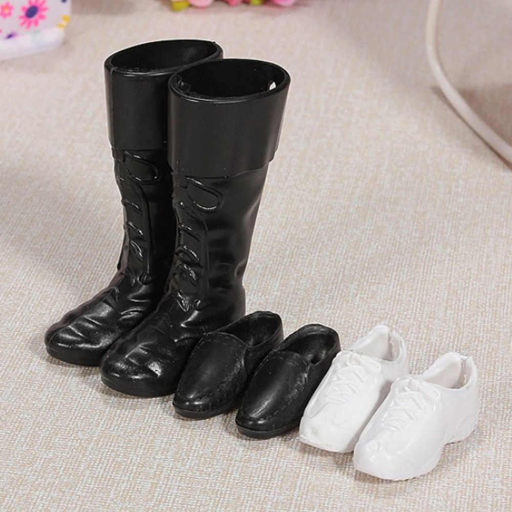 3 pares de zapatos de muñeca de moda Zapatillas blancas zapatos formales negros botas accesorios para hombres Ken Barbie muñecas juguetes niños cumpleaños regalo