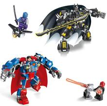 JX Superman Batman 2pcs/lot DC Marvel Super Heroes Mech Action Figures Building Blocks Bricks Toys mye