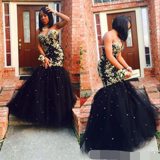 robe de soiree Gold Appliques Black Tulle Mermaid Long Elegant Evening Dress 2019 Sweetheart Beaded African Prom Formal dress
