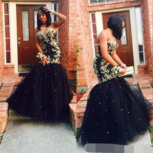 robe de soiree Gold Appliques Black Tulle Mermaid Long Elegant Evening Dress 2019 Sweetheart Beaded African Prom Formal dress african red prom dresses long sleeves gold appliques feathers satin formal mermaid evening dress 2019 black women robe de soiree