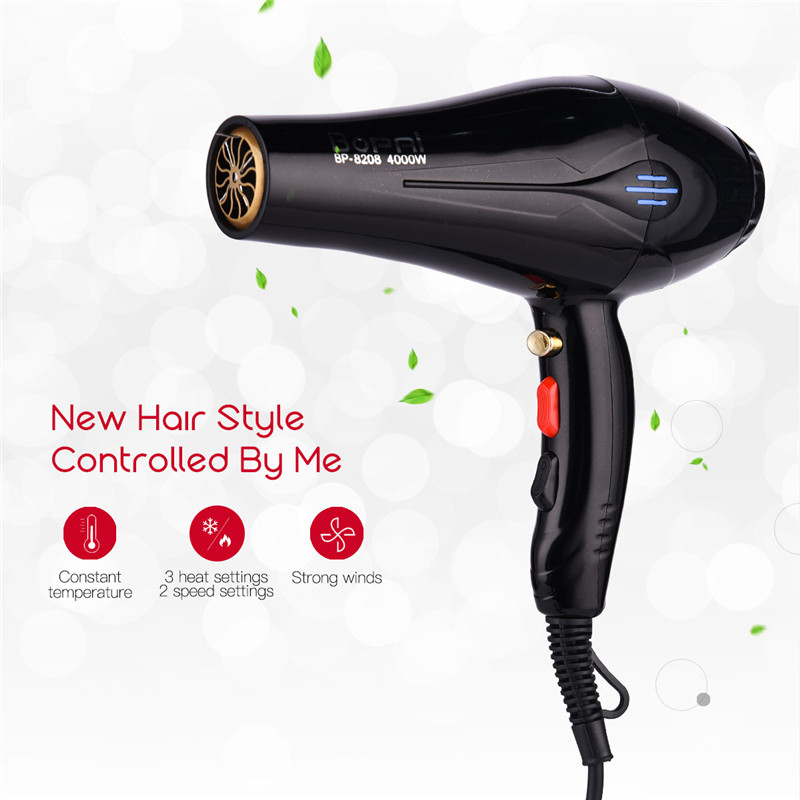 4000W Powerful Electric Hair Dryer Professional Barber Salon Styling Tools Blow Dryer Hot & Cold Wind Hair Drier Blower EU Plug professional hot cold anion hair dryer hair salon 1900w 220v household high power abs portable electric blower eu plug km 8906