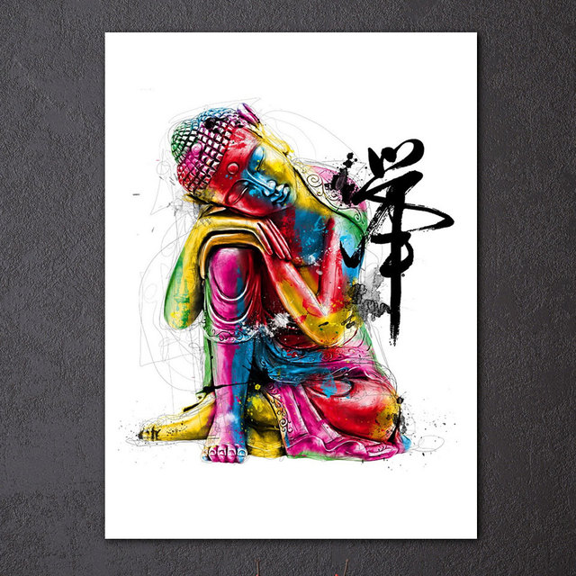 1 Piece Canvas Zen Art Painting Colorful Buddha Chan Meditation Ny-6640c