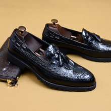 Phenkang mens leather shoes  genuine oxford for men luxury dress slipon wedding brogues