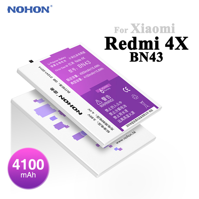 New NOHON 4100mAh Battery For XiaoMi RedMi Note 4X BN43 HongMi Note4X 3.85V High Capacity Replacement Bateria With Package+Tools