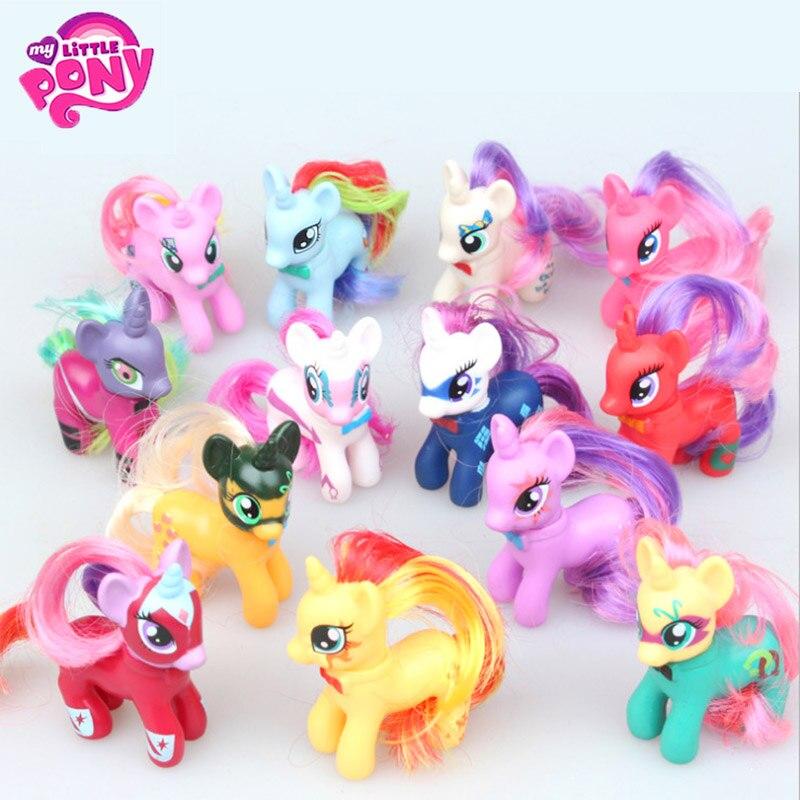 13pcs/Set 8cm Hasbro My Little Pony Toys Friendship Is Magic Mini Pony PVC Action Figures Set Collectible Model Doll Dolls sonny angel summer series caribbean sea version mini pvc action figures collectible model toys 6pcs set 8cm