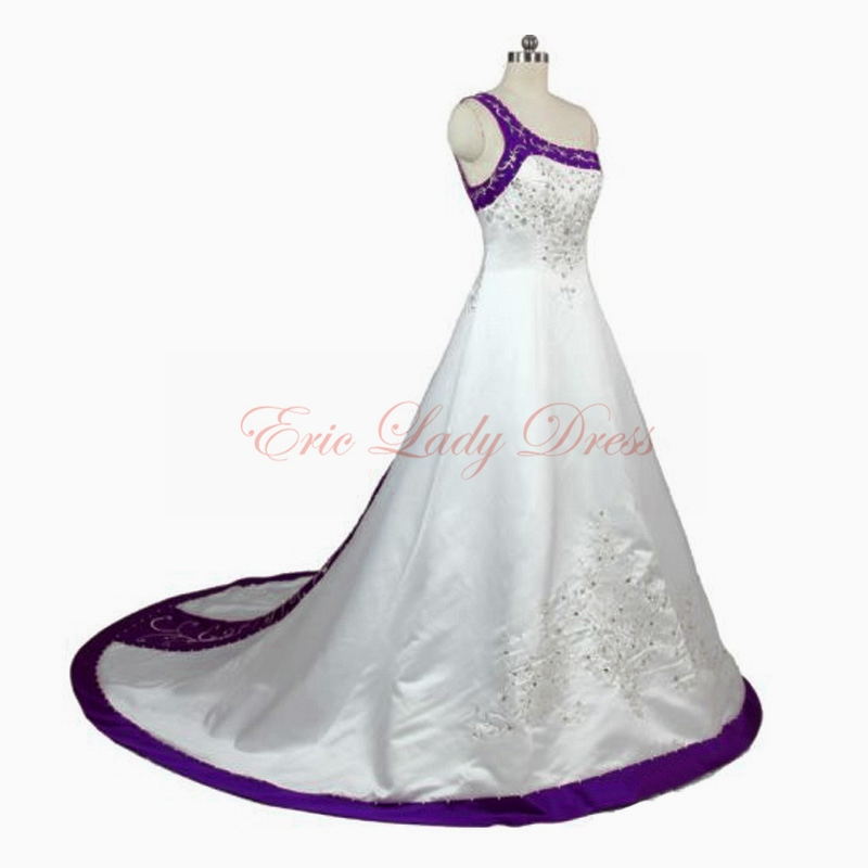 2015 White&Blue&Burgundy&Purple Plus Size Wedding Dresses Long Satin ...