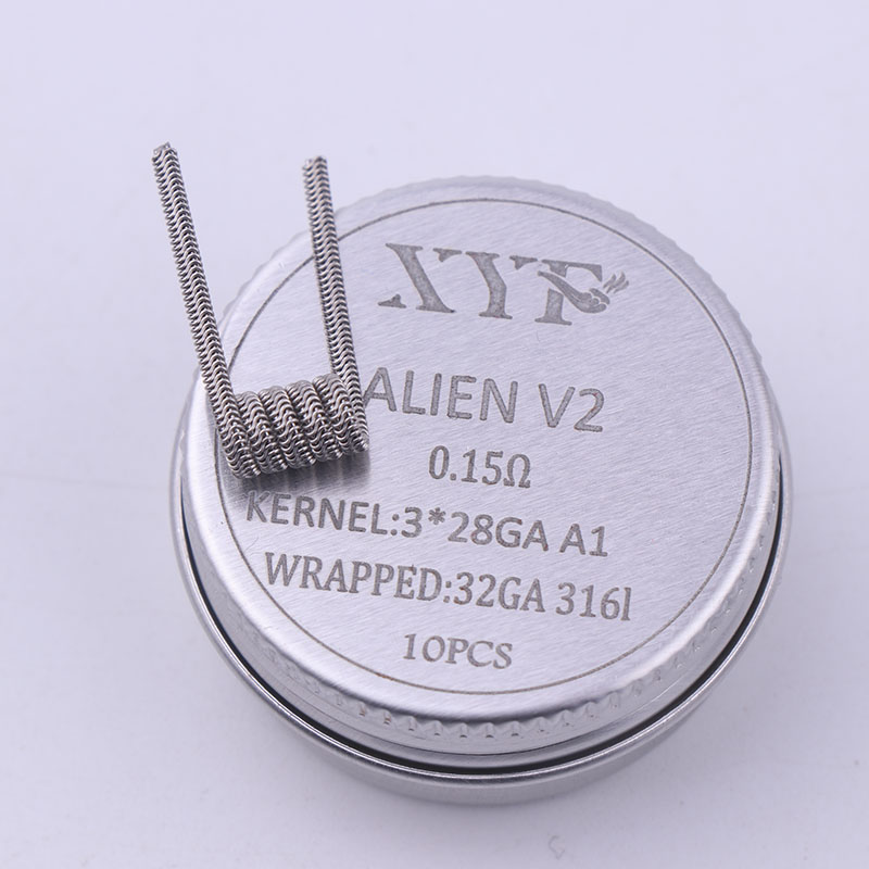 NEW XYF 10pcs/lot Prebuilt Coil Clapton Twisted ALIEN V2 Clapton Wire Coils Heating Resistance Wire Fit RDA RDTA DIY Atomizer