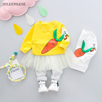 HYLKIDHUOSE 2018 Spring Baby Girls Clothes Sets Infant Cotton Suits Cartoon Rabbit T Shirt Lace Pants