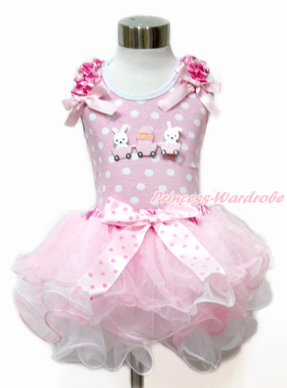 ФОТО Easter Pink White Dots Tank Top With Pink Bows & Bunny Rabbit Egg & Pink White Dots Waist Pink White Petal Pettiskirt MAMH181