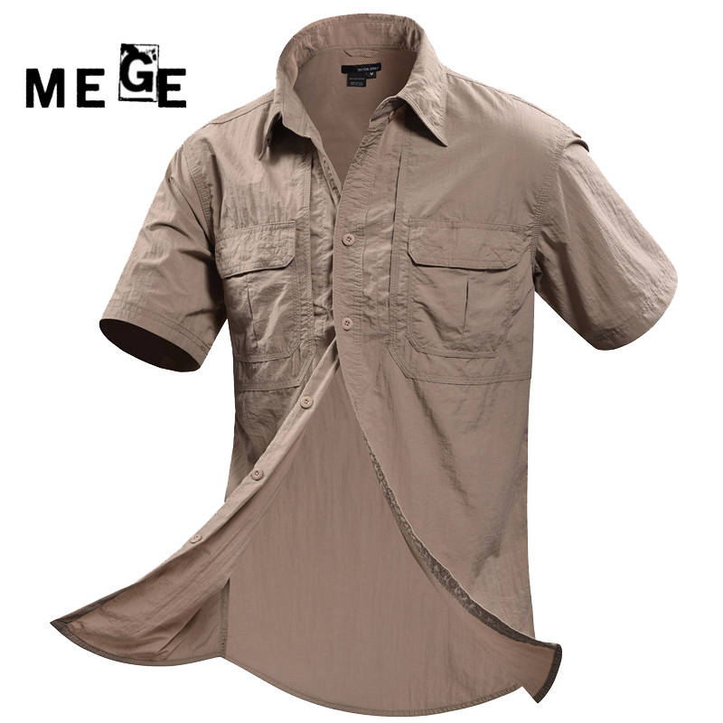 Shirts Short-Sleeve Fishing MEGE Hunting Outdoor Hiking Quick-Dry Breathable Brand-Clothing