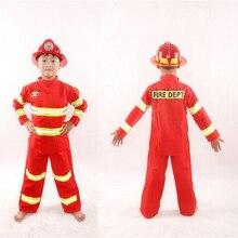 e5b42e0d394 100-190cm Children Halloween Firefighter Cosplay Costumes Family Wear  Fireman Army Suit Uniform Boys Jackets