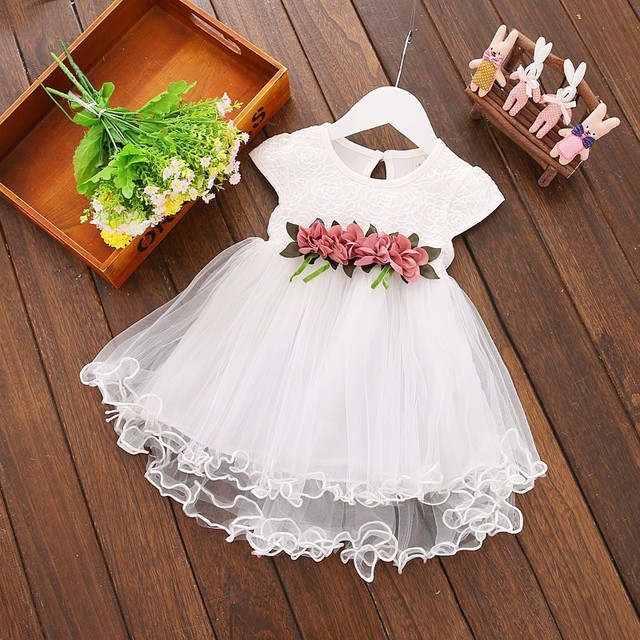 Cute Baby Girls Summer Floral Dress Princess Party Tulle Flower Dresses Toddler Infant Girls Mesh Tutu Dress 0-3Y Clothing 1