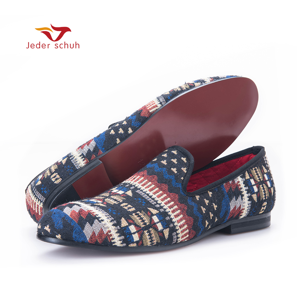 handcrafted using Korea cotton in a traditional print men loafers fashion men mixed colors Knitted shoes men's flats french polishing finishing and restoring using traditional techniques