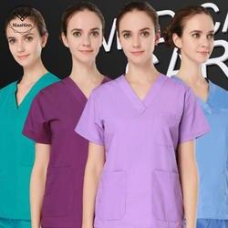 Большие размеры высококачественные женские Медицинские комплекты с v-образным вырезом летние мужские с коротким рукавом униформа для