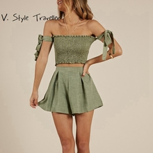 Ribbons Off Shoulder Crop Top Shorts Set Women Playsuit Sexy Bodysuit Women Boho Jumpsuit Casual Overall