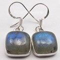 Silver Natural Blue LABRADORITE Beautiful Cushion Earrings 3.0CM