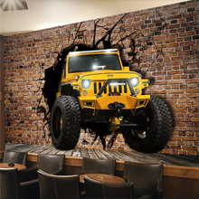 Custom car broken wall 3D personality wallpaper mural ktv background high-grade waterproof silk material