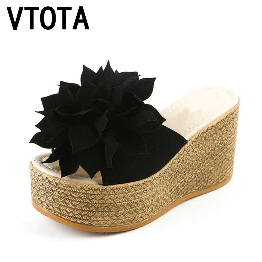 VTOTA Women Slippers Sweet Women Open Toes Summer Shoes High Heel Slippers Women Slides Flowers Platform Wedges Shoes Woman G62
