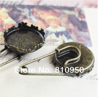 Ücretsiz Kargo 20 adet/grup Bakır Antik Bronz Taç Broş fit: 20mm/15mm Cameo Cabochon Bankası Ayarı