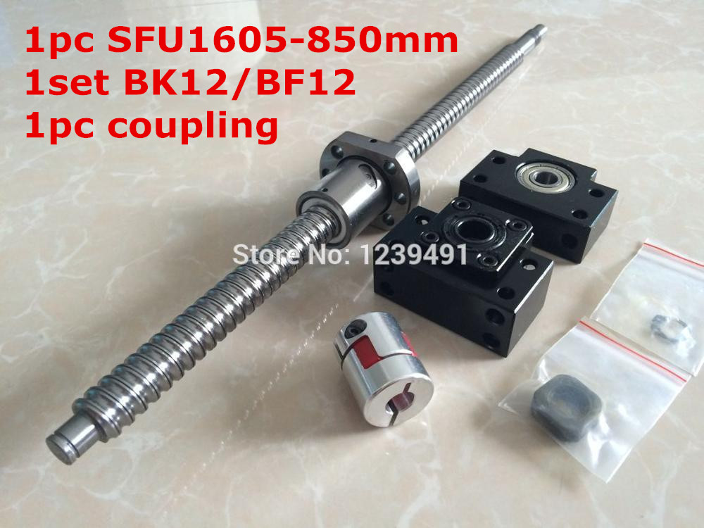 SFU1605 - 850mm ballscrew with METAL DEFLECTOR Ballnut + BK12 BF12 support + coupler  CNC rm1605-c7 rolled c7 ballscrew 1605 700mm ballscrew with metal deflector ballnut bk12 bf12 support coupler