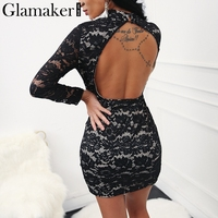 Glamaker Lace Up Evening Sexy Women Dress Backless Black Lace Summer Dress Vestidos Female Spring Split