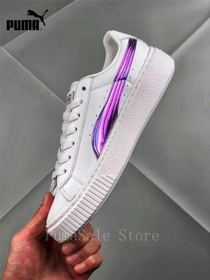 d37772938f2 ... Puma Basket Platform Rainbow Women s Badminton Shoes 362223-05  Purple White Color Rihanna Shoes