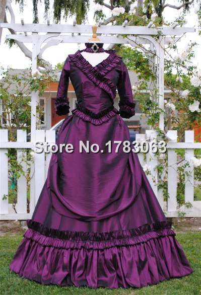 Lower-Cost Satin Mina Dracula Bustle Gown/Southern Belle Gown Reenactment Theater Costume