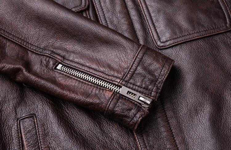 HTB1GX JFTJYBeNjy1zeq6yhzVXab MAPLESTEED Brand Vintage Leather Jacket Men 100% Cowhide Red Brown Black Natural Leather Jackets Men's Leather Coat Autumn M174