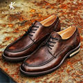 Low-cost selling vintage Genuine leather men's Oxford shoes lace-up Do old Brand Men's leather shoes Causal Flat Shoes Moccasins