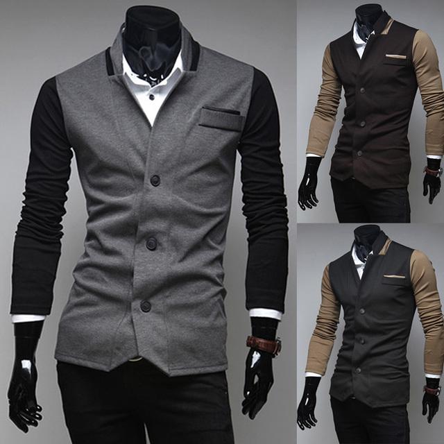 2016 primavera ropa de abrigo ropa de moda decoración del bloque del color de la personalidad masculina prendas de vestir exteriores ocasional delgado blazer