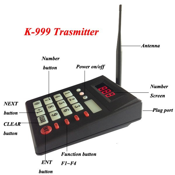 433 92MHZ Guest queue pager system 2 keypad with 20 mini receivers