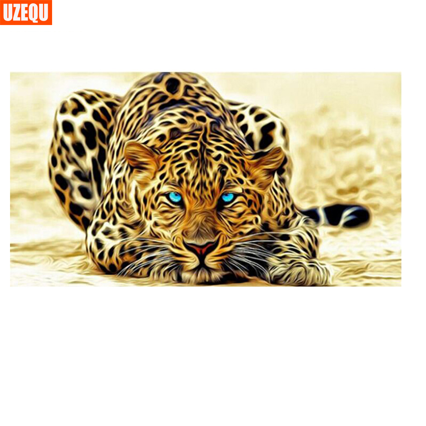 UzeQu 5D DIY Diamond Painting Cross Stitch Cheetah Animal Diamond - Արվեստ, արհեստ և կարի - Լուսանկար 1