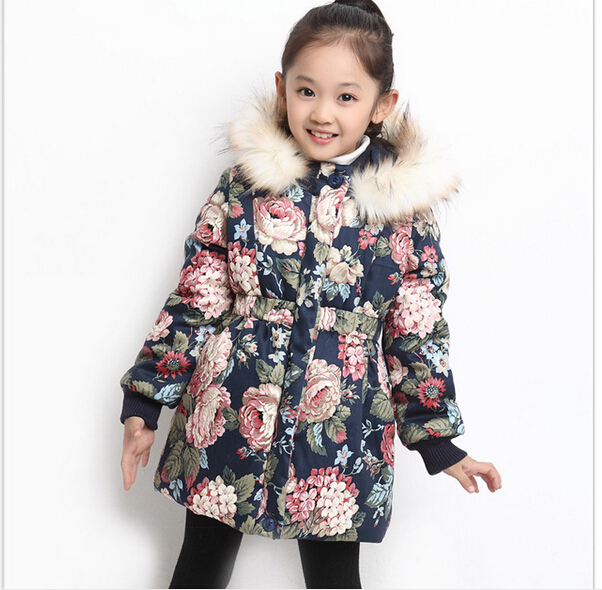 HOT 2016 Winter girl class B cotton blended floral Leisure high collar with thick cotton padded