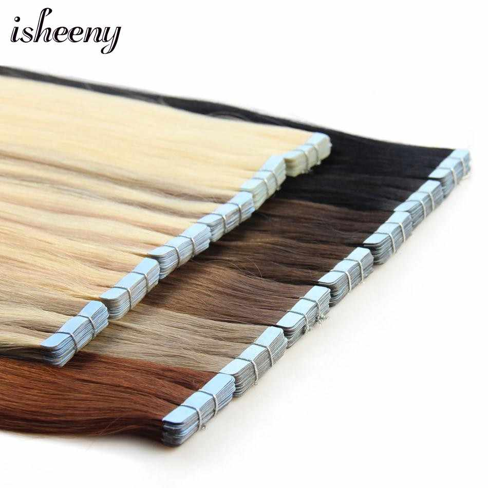 "isheeny 12"" 14"" 18"" 20"" 22"" Tape In Human Hair Extensions Straight Remy On Adhesive Invisible PU Weft Extension 18 Colors"