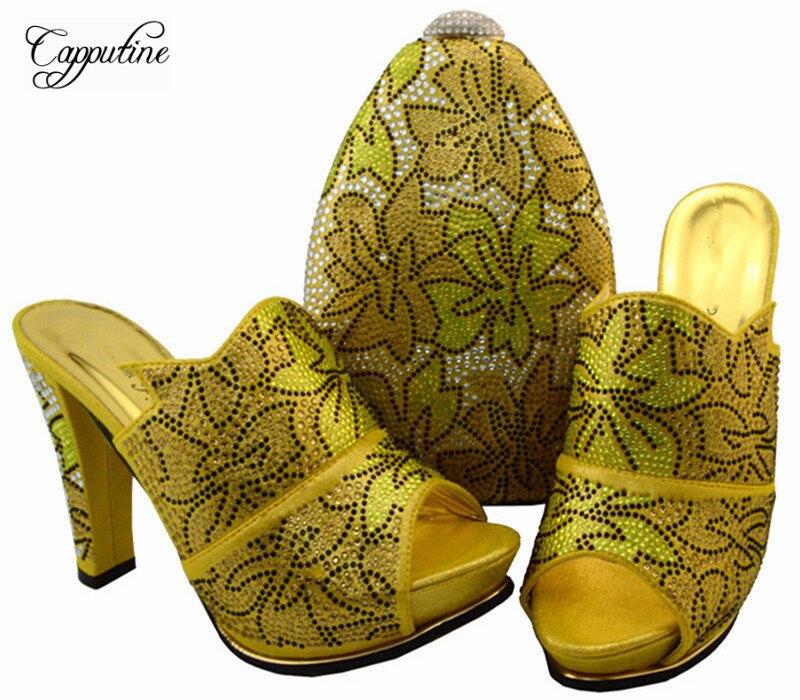 Роскошный желтый с камнями в африканском стиле сандалии обувь и сумки набор для вечерние bch-32 Бесплатная доставка