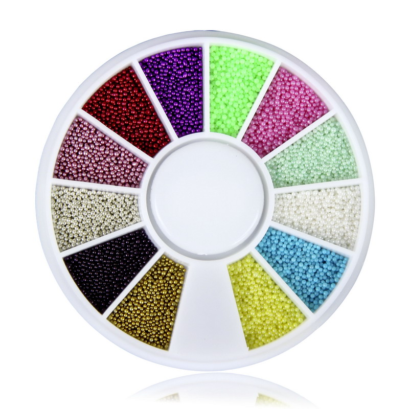 12 Colors Round Caviar Glitter Glass Beads Nail Art Decorations Fingernail Makeup Nail Wheel DIY Nail Jewelry Accessories WY582 2015 colorful acrylic nail glitter wheel glitter gold plated nail art jewelry women fingernail decoration supply wy165