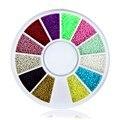 12 Cores Rodada Contas de Vidro Caviar Glitter Decorações Da Arte Do Prego Unha Maquiagem Roda Prego DIY Prego Jóias Acessórios WY582