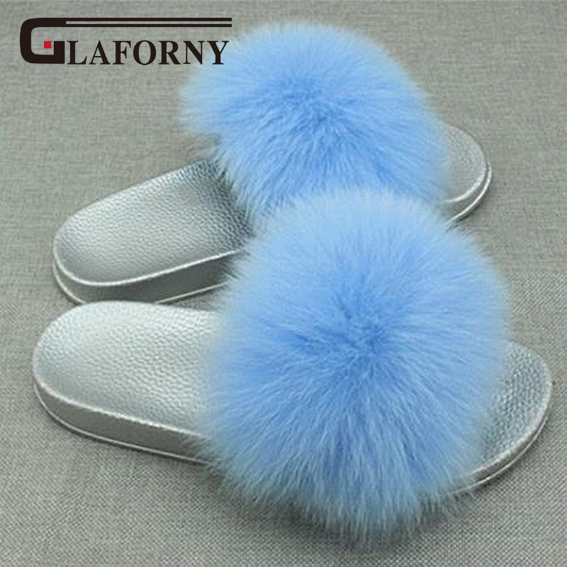 Glaforny 2018 New Arrival Women Summer Fox Fur Slippers Indoor Outdoor Fur Sandals Super Luxury 100% Real Fur Slides Silver Sole
