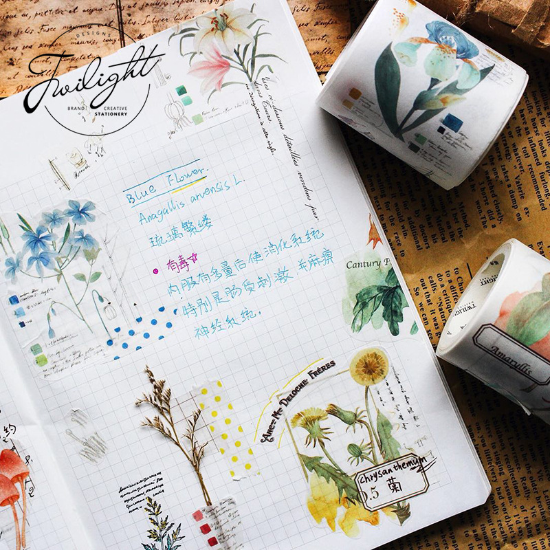 Autumn Plants Insects Washi Tape Diy Decorative Scrapbooking Planner Masking Tape Adhesive Tape Label Sticker Stationery