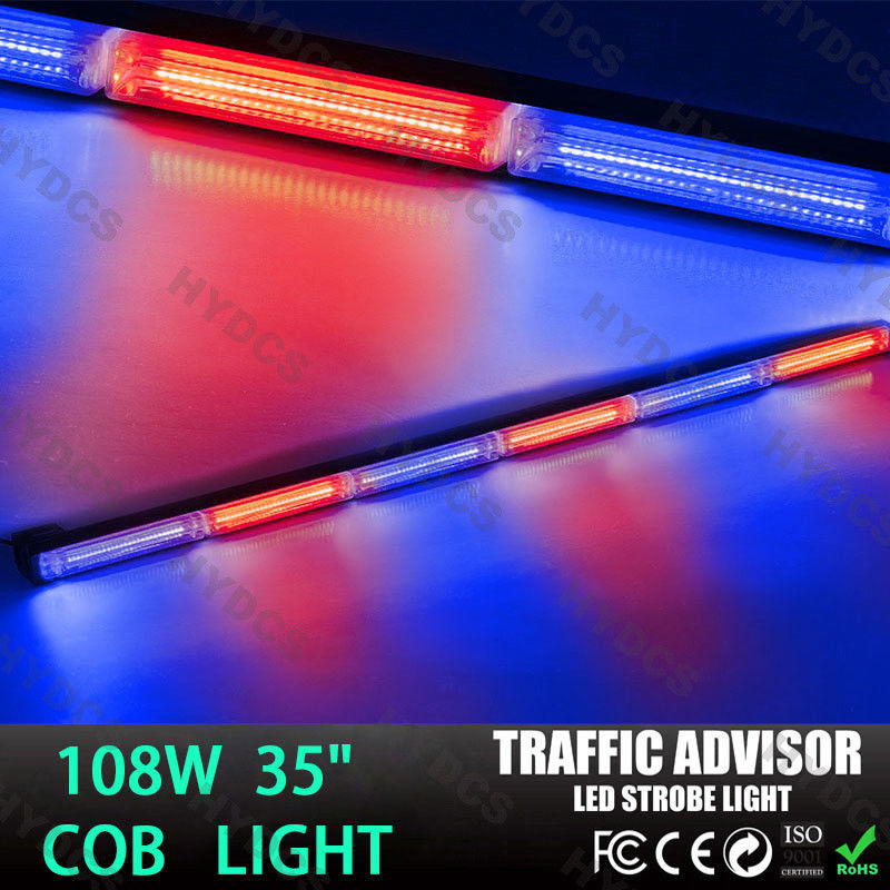 CYAN SOIL BAY 108W COB LED Emergency Warning Traffic Advisor Strobe Flash Light Bar Red Blue Lamp 35 inch cyan soil bay blue white 8 led 8led car emergency dashboard dash strobe lights police warning flash