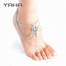 Yaha 2016 New Ankle Anklets for Women Foot Accessories Beach Vintage Turquoise Ankle Bracelet Jewelry Bracelet Boot Bangle