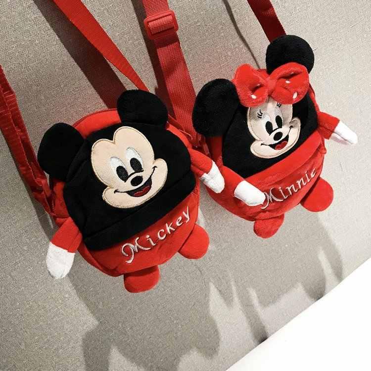 Мультфильм Сумки зимняя сумка Плюшевые Сумочка Для женщин сумка прекрасный Микки и Минни Маус Crossbody сумка девушка кошелек
