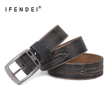 IFENDEI Thick Leather Mens Belt High Quality Split Waist Men Needle Buckle Casual Business Strap For Trouser