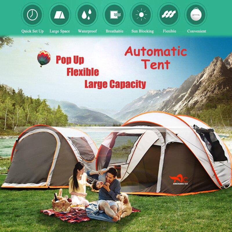 2 8 человек, полностью автоматическая палатка для кемпинга, ветрозащитная, водонепроницаемая, автоматическая всплывающая палатка, семейная,